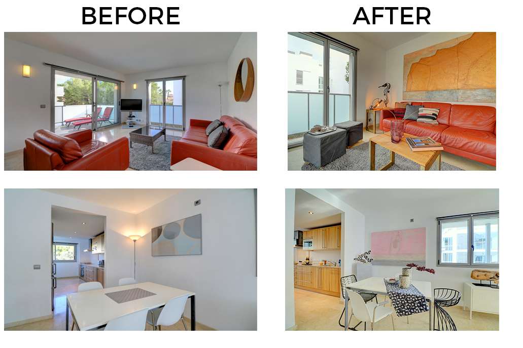 Some photos of before and after Home Staging the apartment for sale in Gotmar, Puerto Pollensa